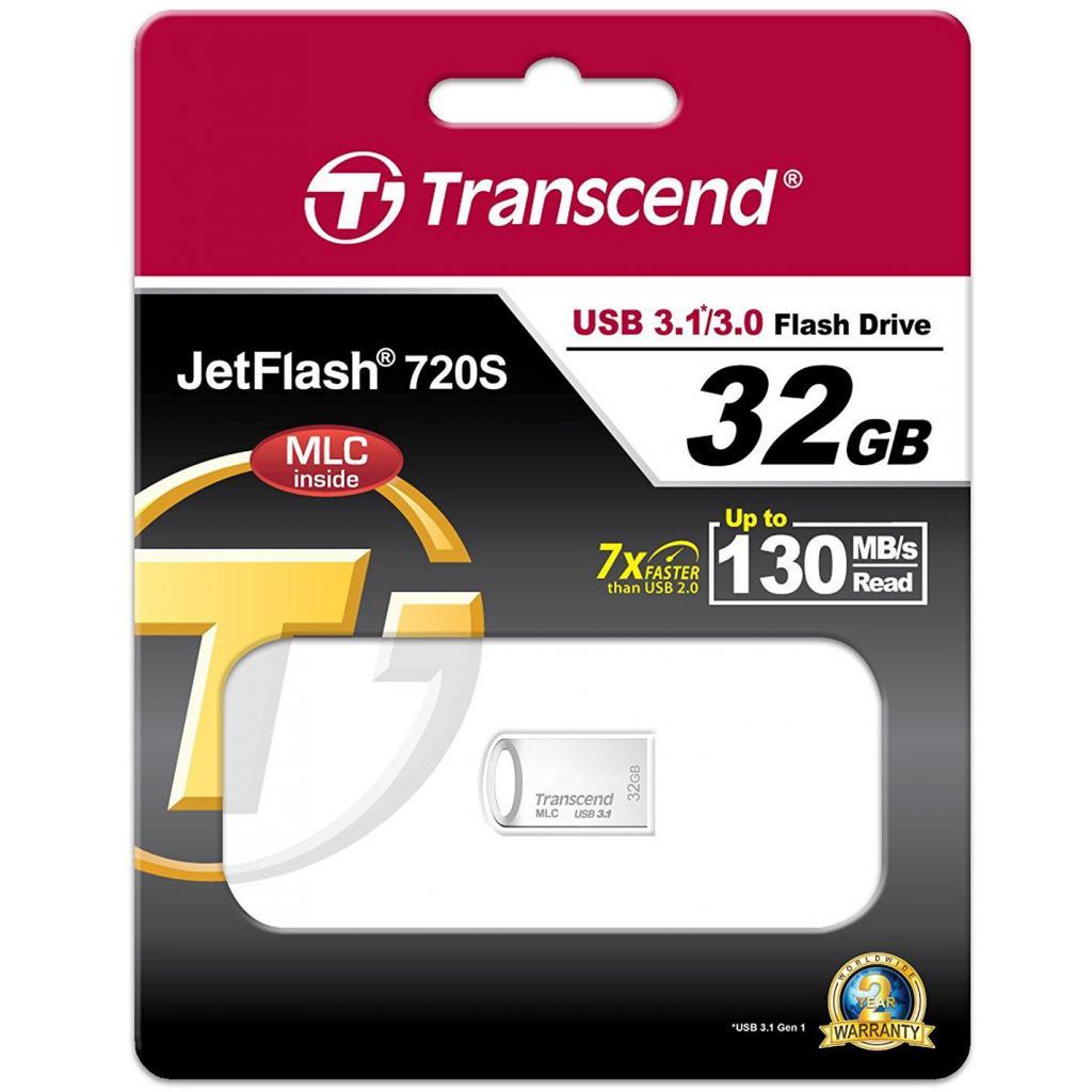 USB флеш накопитель Transcend 32GB JetFlash 720 Silver Plating USB 3.1 (TS32GJF720S)