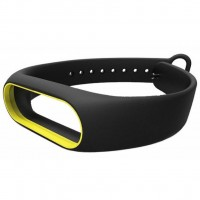 Ремешок для фитнес браслета Xiaomi Mi Band 2 black-yellow (Р27690)
